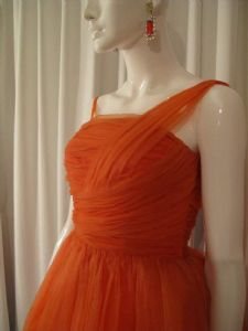 1950's Tangerine ruched one shoulder ballerina length vintage chiffon gown **SOLD**